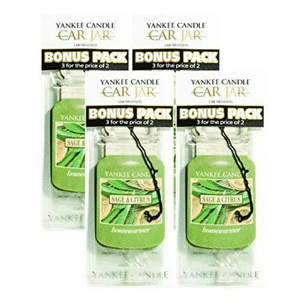 Yankee Candle Car Jar Sage & Citrus Air Fresheners - (4 Packs) (Yankee Candle Air Freshener Refill)