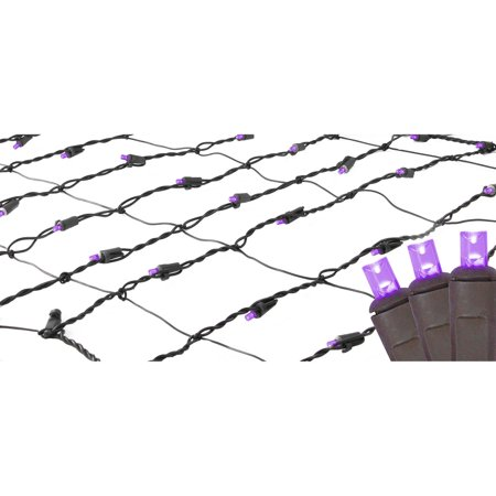 2' x 8' Purple LED Net Style Tree Trunk Wrap Christmas Lights - Brown Wire