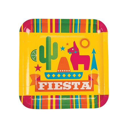 Fun Express - Fiesta Party Dinner Plates for Cinco de Mayo - Party Supplies - Print Tableware - Print Plates & Bowls - Cinco de Mayo - 8 Pieces