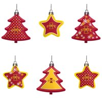 Iowa State Cyclones Six-Pack Shatterproof Tree And Star Ornament Set - No Size