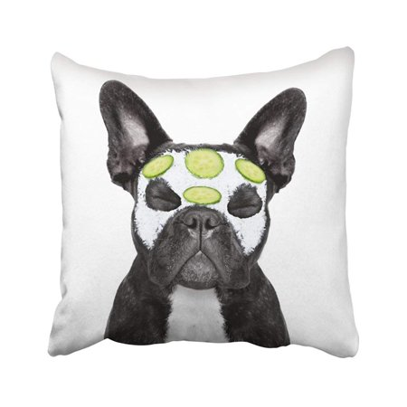 ARTJIA Grooming French Bulldog Dog Relaxing With Beauty Mask White Care Shower Animal Bath Body Pillowcase Cover 20x20 inch