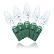 Winterland S-35C6PW-6G C6 Pure White LED Light Set With In-Line Rectifer On Green Wire