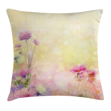 Watercolor Flower Home Decor Throw Pillow Cushion Cover, Vintage Soft Feminine Magnolia Blooms Motif Whorls Art, Decorative Square Accent Pillow Case, 16 X 16 Inches, Pink Light Yellow, by - Magnolia Motif