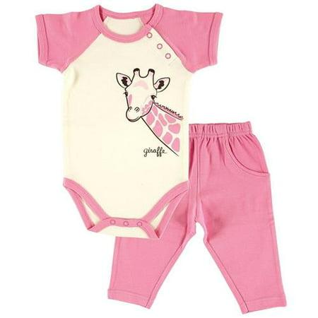Hudson Baby Filles 0-12 mois girafe Bodysuit Set Pant (crème 6-9 mois)