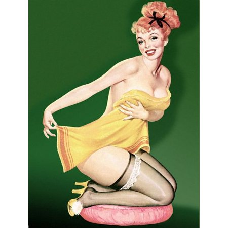 Pin Up Girl Redhead Pinup In Towel Canvas Art - (24 x 36) - Walmart.com