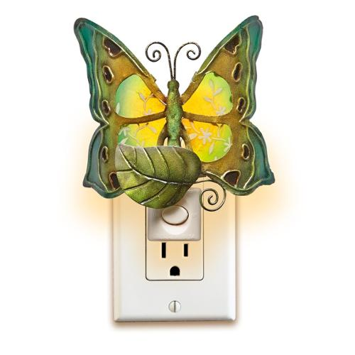 Pack of 2 Teal and Forest Green Capiz Shell Butterfly with Floral Accent Night Lights 6.5""