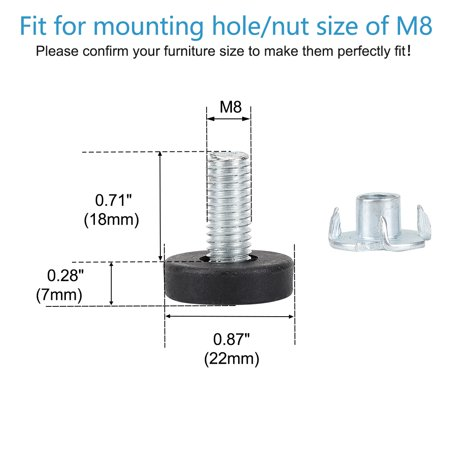 M8 x 18 x 22mm Leveling Feet Protector with T-nuts for Home Furniture 8pcs - image 2 de 8
