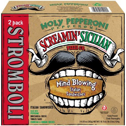 Screamin' Sicilian Pizza Co. Holy Pepperoni Stromboli Sandwiches, 9.25 oz, 2 ct