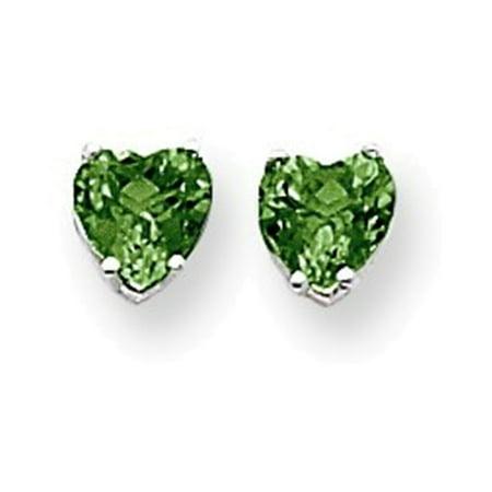 14k White Gold 6mm Heart Mount St. Helens earring