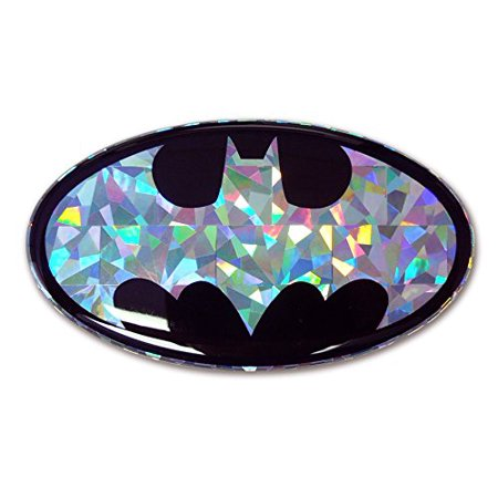 Reflective Auto Decals - Batman Silver Oval Reflective 3D Decal Domed Auto Sticker Emblem