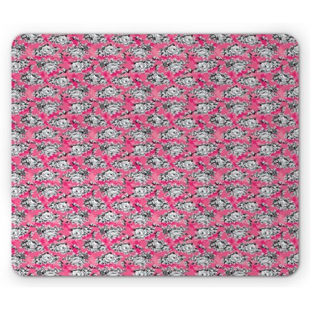 Peony Mouse Pad, Greyscale Flower Chintz Rose Print on Vivid Tone Background, Rectangle Non-Slip Rubber Mousepad, Hot Pink Pastel Pink, by Ambesonne