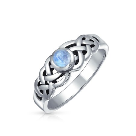 Peach Moonstone Ring - .925 Sterling Silver Moonstone Celtic Knot Ring