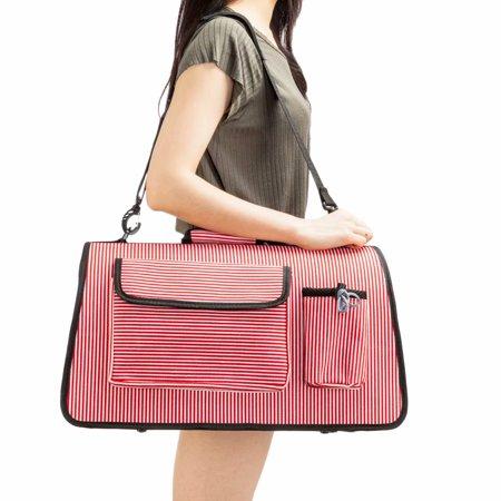 Soft Sided Cat/Dog Pet Comfort Carrier Travel Bag Airline Approved Red Stripe M