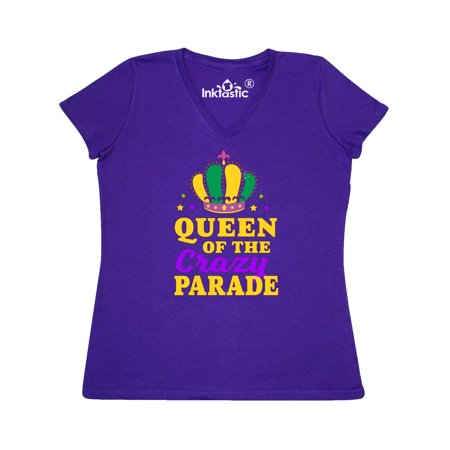 Mardi Gras Queen of The Crazy Parade Women's V-Neck T-Shirt ()