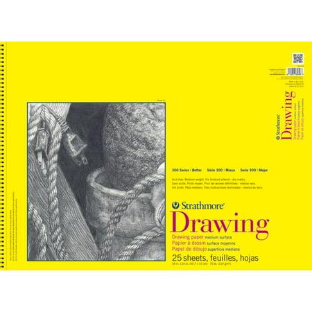 Strathmore Drawing Envelopes - Strathmore - Drawing Paper Pad - 300 Series - Spiral-Bound- 25 Sheet/Pad - 9