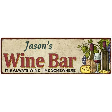 Jason's Wine Bar Personalized Home Decor Metal Gift 6x18 Sign - Personalize Gift
