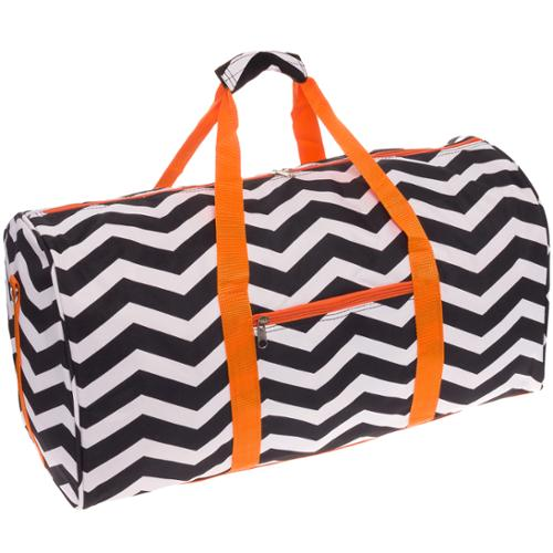 "SILVERHOOKS NEW Chevron 22"" Duffle Duffel Travel Carry-On Gym Bag w/ Orange Trim"