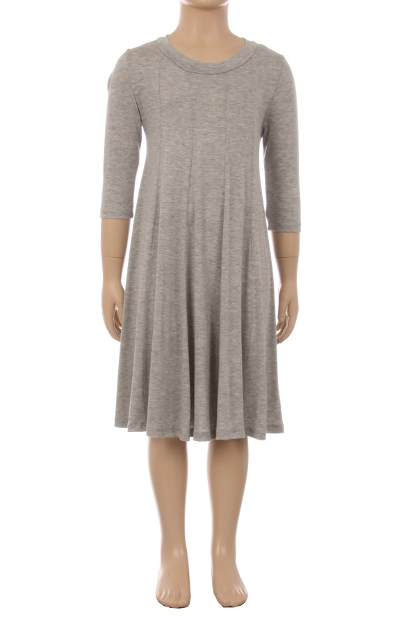 Girls 3/4 Sleeves Solid Knit Dress