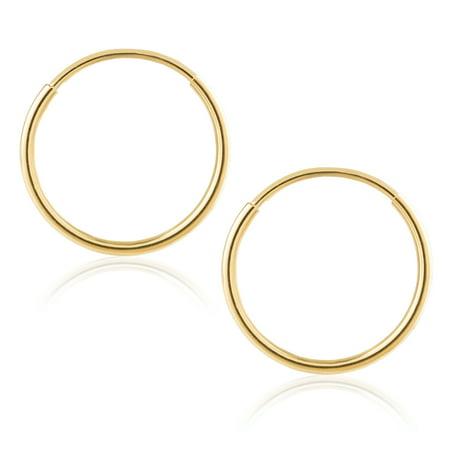 14k Yellow Gold Women's Endless Tube Hoop Earrings 1mm Thick x 10mm Diameter 14k 1mm Hoop Earrings