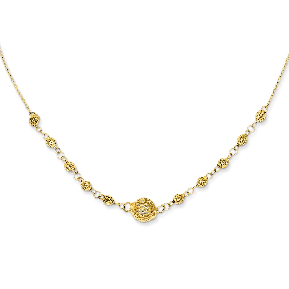 14K Gold 16in Cable with Filigree Beads w/ 2in Ext Necklace