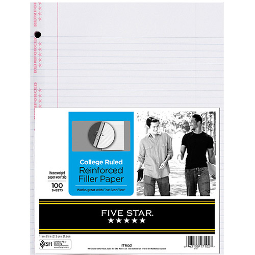 "Five Star Reinforced Filler Paper - College Rule, 11"" x 8-1/2"", Pack of 100 Sheets"