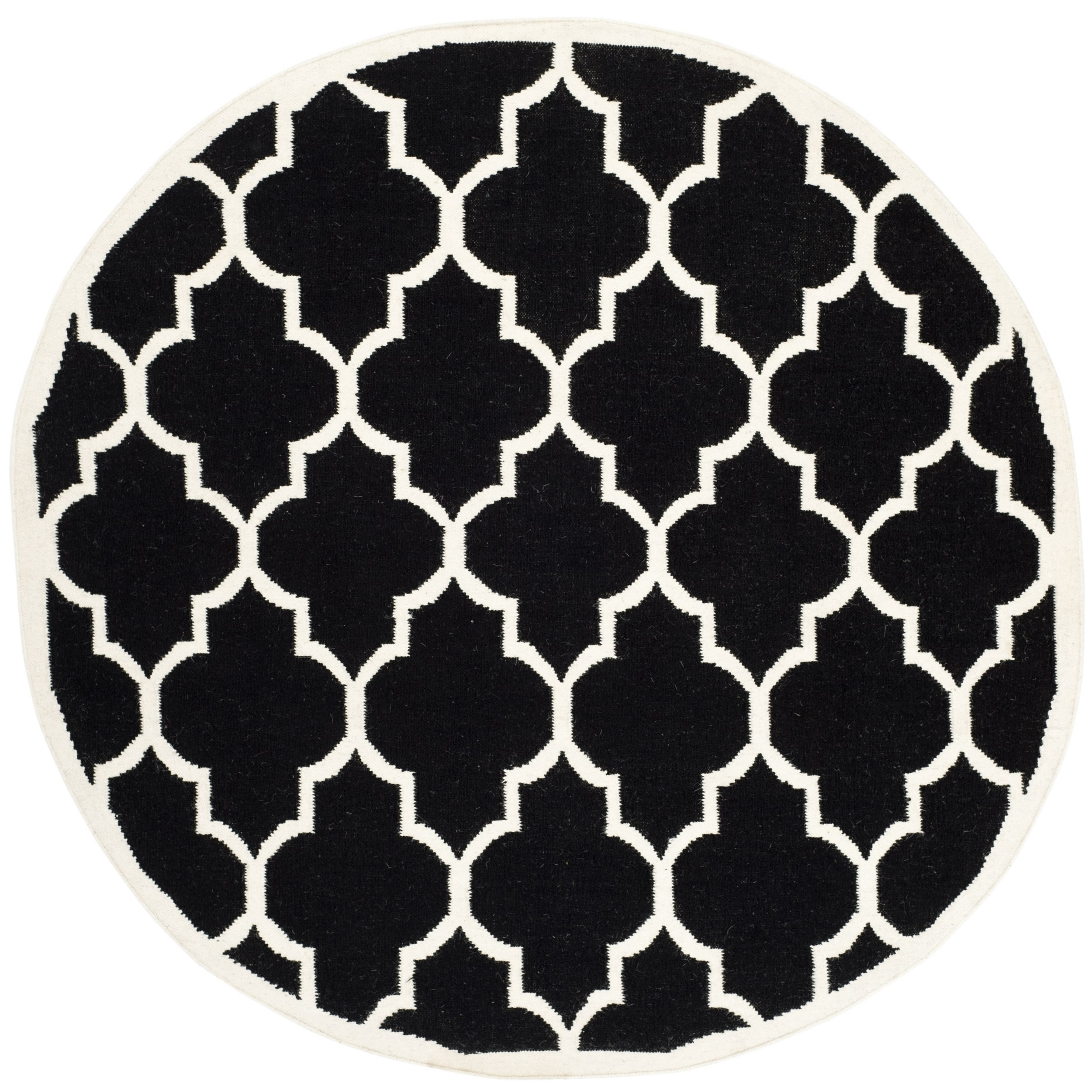 Safavieh  Contemporary  Handwoven Moroccan Reversible Dhurrie Black/ Ivory Wool Area Rug (6'
