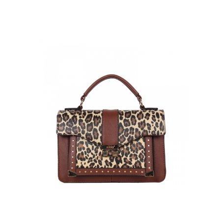 Women Top Handle Fashion Brown Shoulder Handbag Structured Design  Imprinted Leopard Print