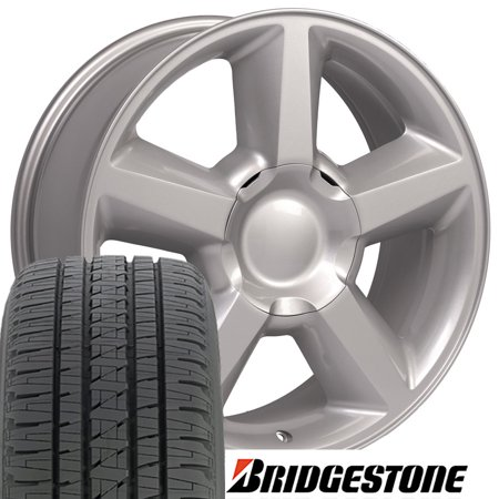 20x8.5 Wheels & Tires Fit GM Truck & SUV - Chevy Tahoe Style Silver Rims, Hollander 5308 w/Goodyear Tires - SET
