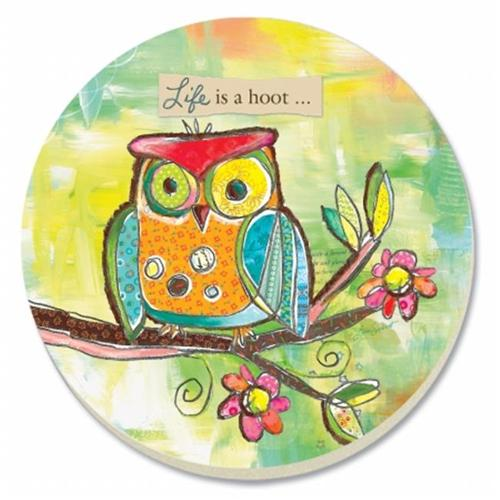 Life's a Hoot Cute Little Owl Stone Absorbent Round Coasters Set of 4
