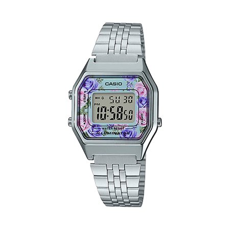 Casio LA680WA-2C Women's Vintage Floral Dial Alarm Chronograph Digital Watch ()