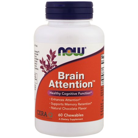 Now Foods, Brain Attention, Natural Chocolate Flavor, 60 (Best Brain Boosting Foods)