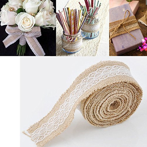 Yosoo Natural Hessian Burlap with Lace Trims Tape Ribbon Rustic Wedding Decorations for Tables Burlap Ribbon Roll Craft Trims Home Garland (5 m)