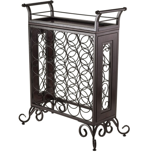 Winsome Wood Silvano Wine Rack, Removable Tray, Antique Bronze