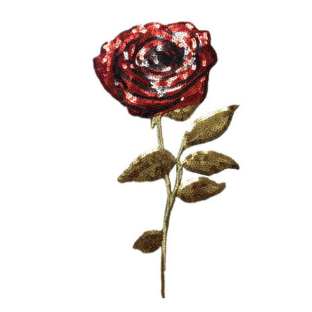 DIY Women Clothes Sewing Patch Embroidery Sequins Red Rose Applique Flower Cloth Paste Costume Decoration for $<!---->