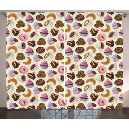 Kitchen Decor Curtains 2 Panels Set, Coffee Shop Themed Image with Cups Cookies Cake Chocolate Artwork Pattern, Window Drapes for Living Room Bedroom, 108W X 84L Inches, Multicolor, by - Kitchen Theme Decor