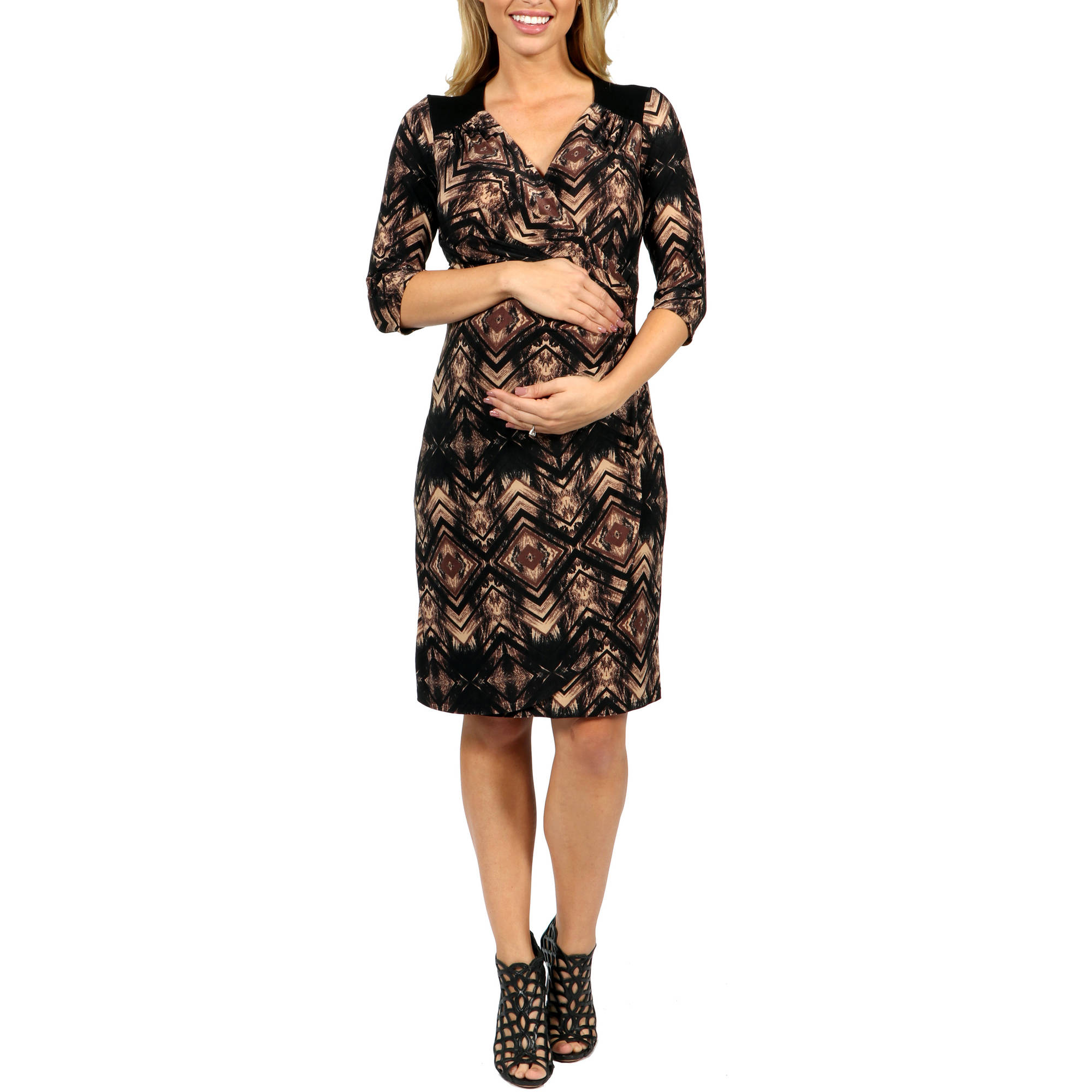 24/7 Comfort Apparel Unforgettable First Impression Maternity Faux Wrap Dress