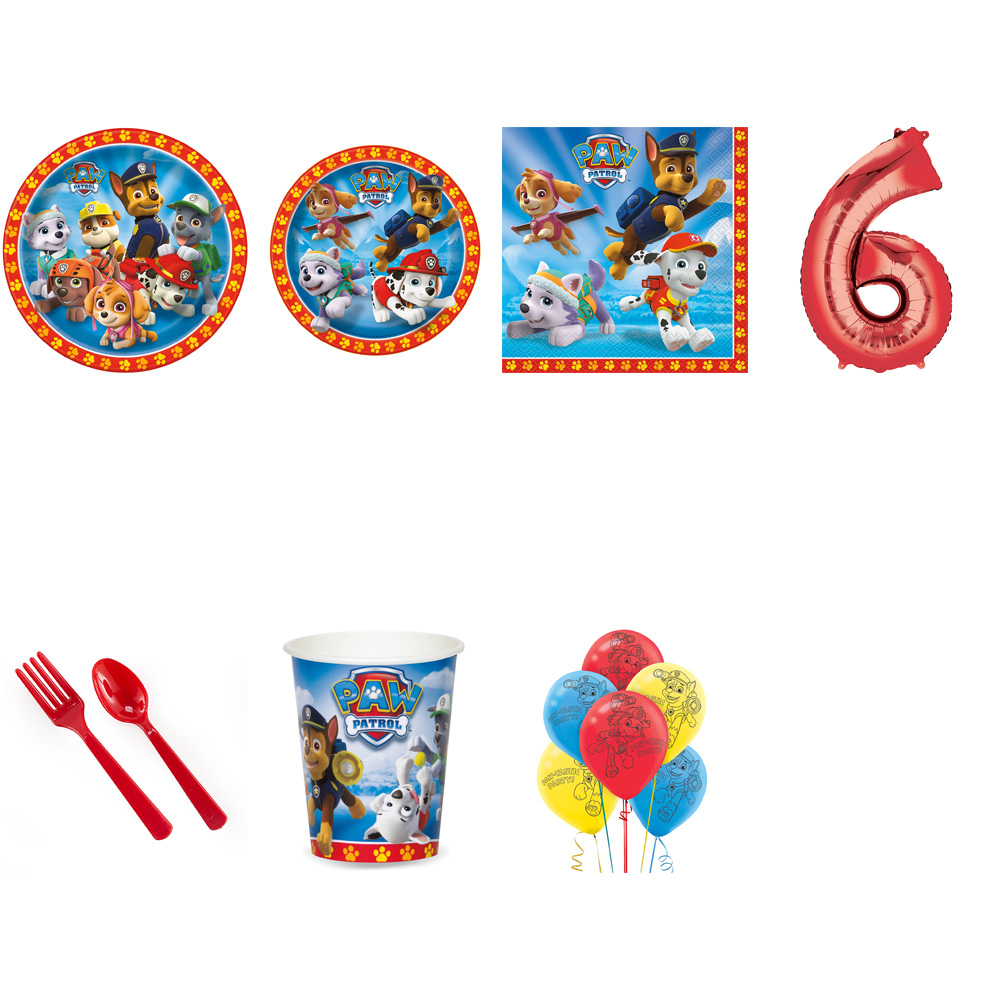 PAW PATROL PARTY SUPPLIES PARTY PACK FOR 16 WITH RED #6 BALLOON