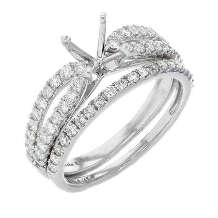 14K White Gold Diamond Engagement Ring Setting Bridal Set Semi Mount 3/4ctw Fits 1ct