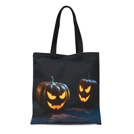 LADDKE Canvas Tote Bag Orange Halloween Tow Pumpkin Carving Face Head Jack Lantern Reusable Shoulder Grocery Shopping Bags Handbag](Carve Pumpkin Face Halloween)