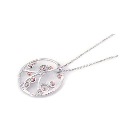 Cubic Zirconia Open Circle Filigree Flower Design Necklace Rhodium Plated Sterling Silver