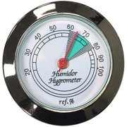 Prestige Import Group Medium Round Analog Hygrometer Humidity Gauge for Humidors - Color: Silver - 2 Pack