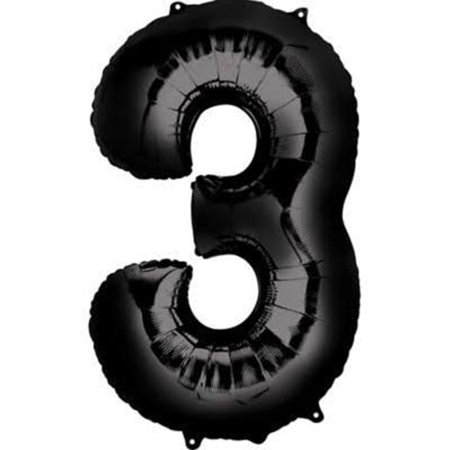 Giant Black Number 3 Foil Balloon 34
