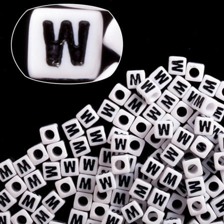 Letter W White Acrylic Cube Alphabet Beads 7mm](Monk Beads)
