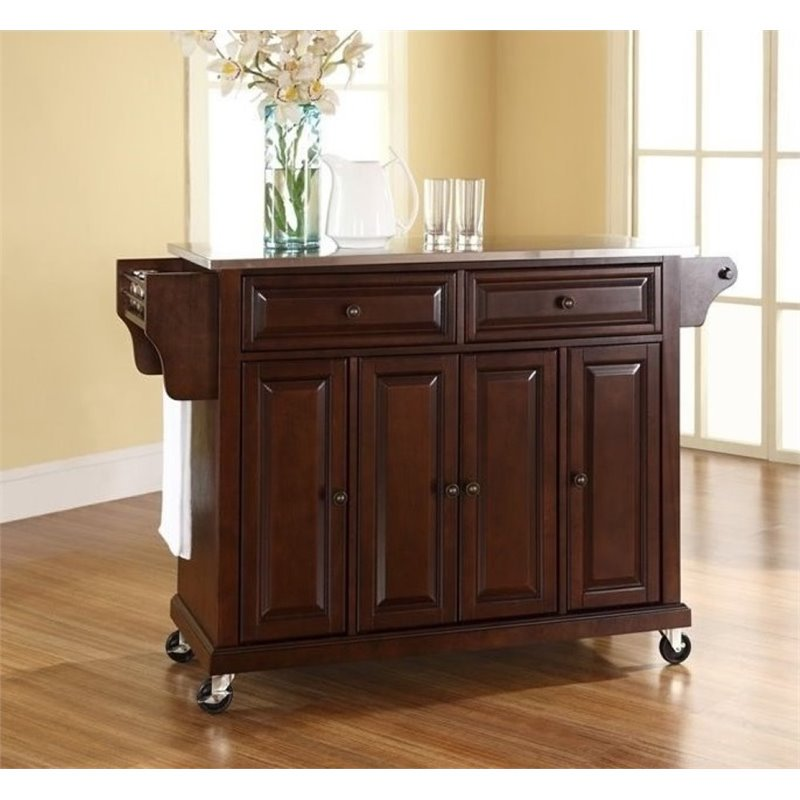 Bowery Hill Stainless Steel Top Kitchen Cart in Mahogany