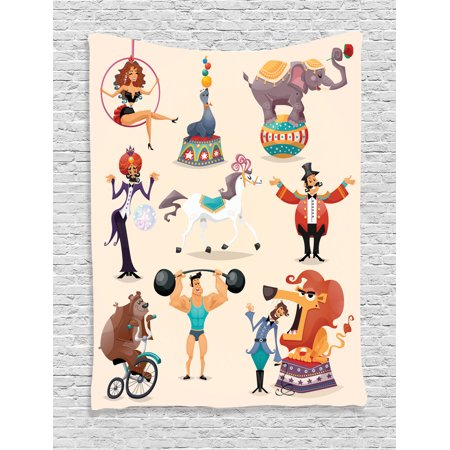 Circus Decor Wall Hanging Tapestry, Circus Performance Decorative Fun Athlete Animals Horse Heavy Lifting, Bedroom Living Room Dorm Accessories, Gift Ideas, By Ambesonne - Circus Ideas