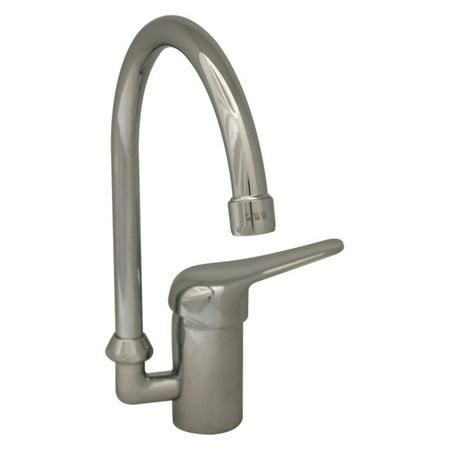 Whitehaus Swivel (Whitehaus 3-2851-BN Flamingo III Single Hole/Single Lever Handle Entertainment/Prep Faucet with Gooseneck Swivel Spout )