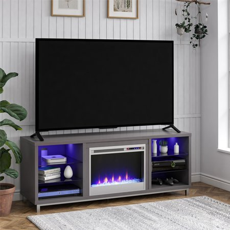 Ameriwood Home Lumina Fireplace TV Stand for TVs up to 70u0022 Wide, Gray