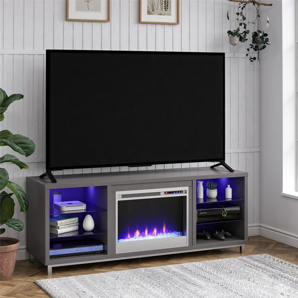 "Ameriwood Home Lumina Fireplace TV Stand for TVs up to 70"" Wide Multiple Colors"