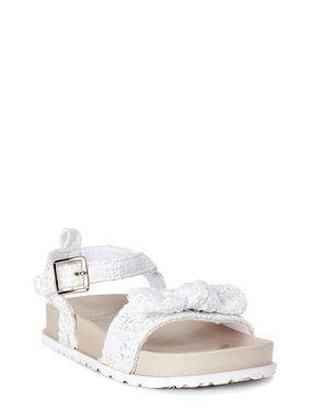 First Steps by Stepping Stones Eyelet Ankle-Strap Bow Sandal (Infant Girls)