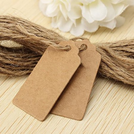 Directer 100pcs Kraft Paper Tags with Jute Twine DIY Gifts Crafts Price Luggage Name Tags